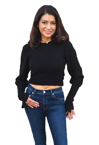 525 America Crop Tie Sleeve Pullover in Black