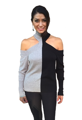 525 America Contrast Cold Shoulder Sweater in Black Multi