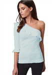 525 America One Shoulder Top in Sky Blue