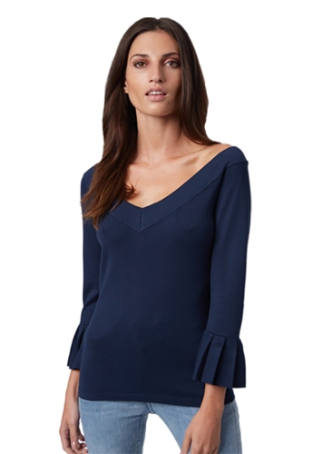 525 America Double V Pleated Cuff Top in Midnight