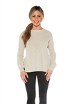 525 America Shoulder Button Sweater in Sand Melange