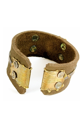 Sibilla G Leather Cuff in Distressed Brown