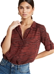 Bella Dahl Capri Button Down Shirt in Crimson Red