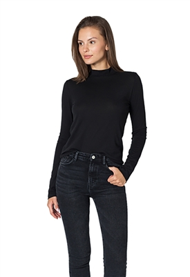 Maison T Chio Long Sleeve Cotton Tee in Black