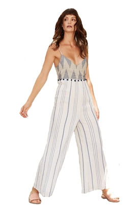Saylor Candice Blue Tapestry Wide Leg Jumpsuit