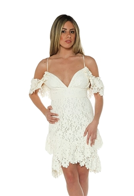 Saylor Dana Coated Lace Ruffle Dress in White