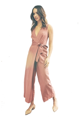 Saylor Emery Stripe Jumpsuit in Rust