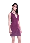 Sheri Bodell Deep V Crystal Mini Dress in Purple