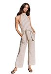 Saylor Ilona Striped Ponte Knit Jumpsuit in Cream & Navy