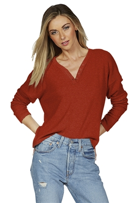 Michael Lauren Lexton Long Sleeve Henley Box Top in Spice