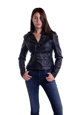 Jakett Hammered Faux Leather Moto Jacket in Black