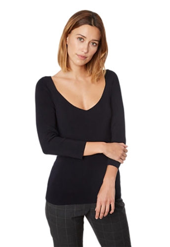 525 America Sweetheart Neck Pullover in Black