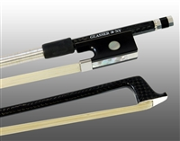 VIOLIN BOW BRAIDED CARBON FIBER ROUND, FULLY LINED EBONY FROG, STERLING SILVER WIRE GRIP & TIP