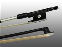 VIOLA BOW BRAIDED CARBON / RED HYBRID FIBER, ROUND, FULLY LINED EBONY FROG, NICKEL WIRE GRIP & TIP