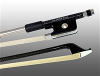 CELLO BOW BRAIDED CARBON FIBER ROUND, FULLY LINED EBONY FROG, NICKEL WIRE GRIP & TIP