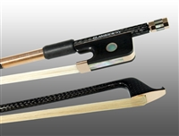 CELLO BOW BRAIDED CARBON FIBER ROUND, FULLY LINED EBONY FROG, 585 GOLD GRIP & TIP