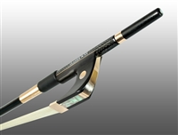 BASS BOW GERMAN BRAIDED CARBON FIBER OCTAGONAL, FULLY LINED EBONY FROG, 585 GOLD GRIP & TIP