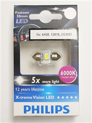Philips 30mm 6000K 6428 12818 DE3021 LED Festoon Bulb