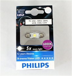 Philips 6000K 38mm C5W 6461 12854 12844 6418 LED Festoon Light Bulb