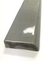 1.5x12 Bullnose Gray Crackled Ceramic Trim Tile