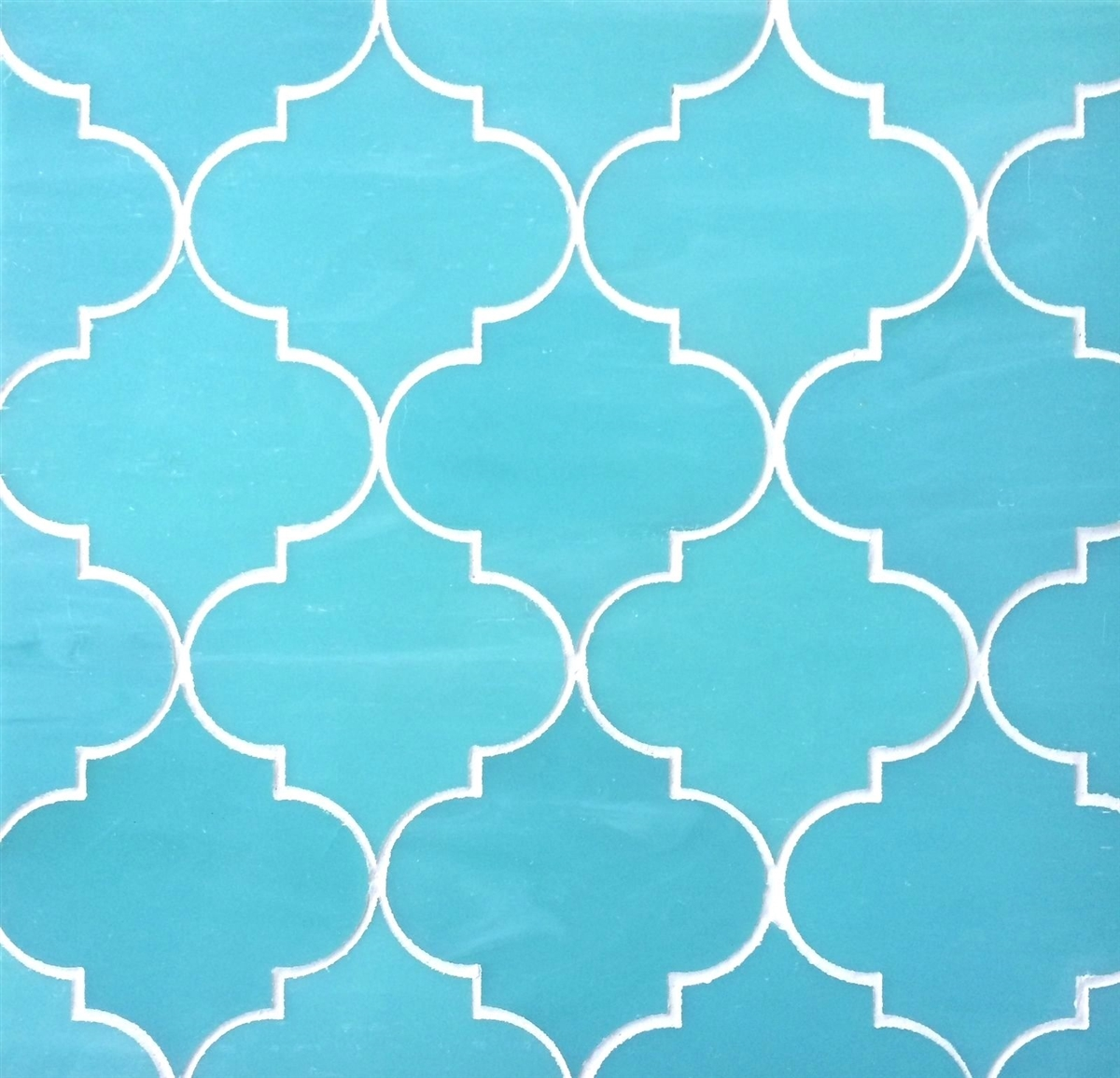 Arabesque Moroccan Turquoise 11x13 Glass Tile Mosaic