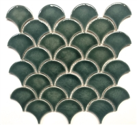 Mandarin Glossy Fan Emerald Crackled Porcelain Mosaic Tile