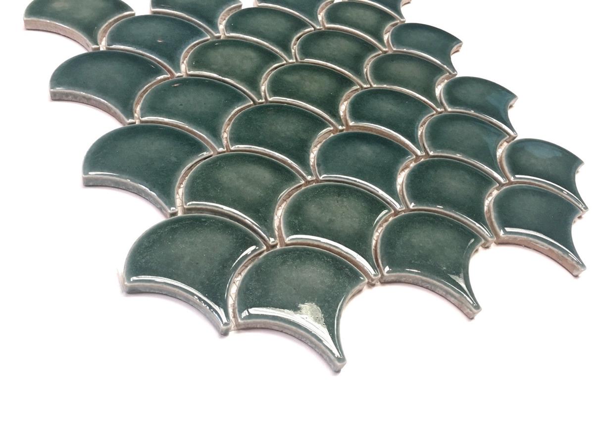 Mandarin Glossy Fan Emerald Crackled Porcelain Mosaic Tile Wall Backsplash