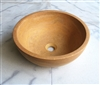 "16"" Gold Honed Travertine Countertop Vessel Sink"
