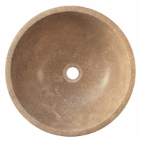 "16"" Walnut Travertine Countertop Vessel Sink"