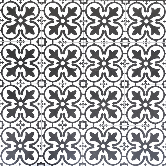 18x18 Balenciaga Pattern Floor Tile Made in Spain Genuine Ceramic White/Black