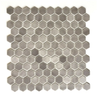 "1"" Daltile Hexagon Matte Frost Moka Glass Mosaic Tile"