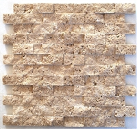 Walnut 1x2 Splitface Mosaic Travertine Tile Wall Backsplash