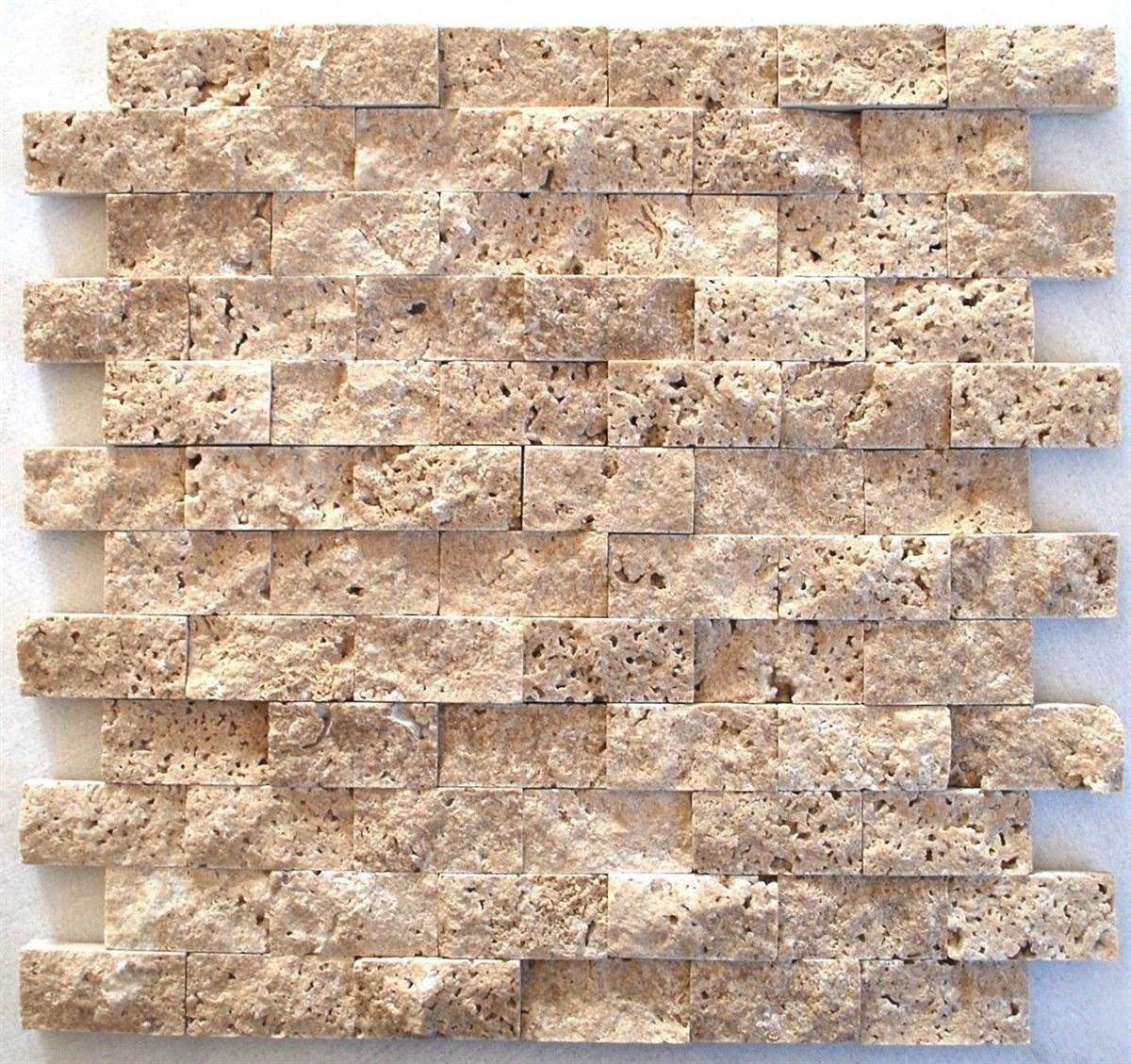 - Walnut 1x2 Splitface Mosaic Travertine Tile Wall Backsplash