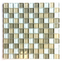 1X1 Palm Beach Blend Glass Mosaic Tile Glossy