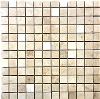 1x1 Botticino Brushed Marble Mosaic Wall and Floor Tile