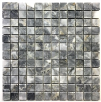 Gray Blue 1X1 Polished Marble Mosaic Tile