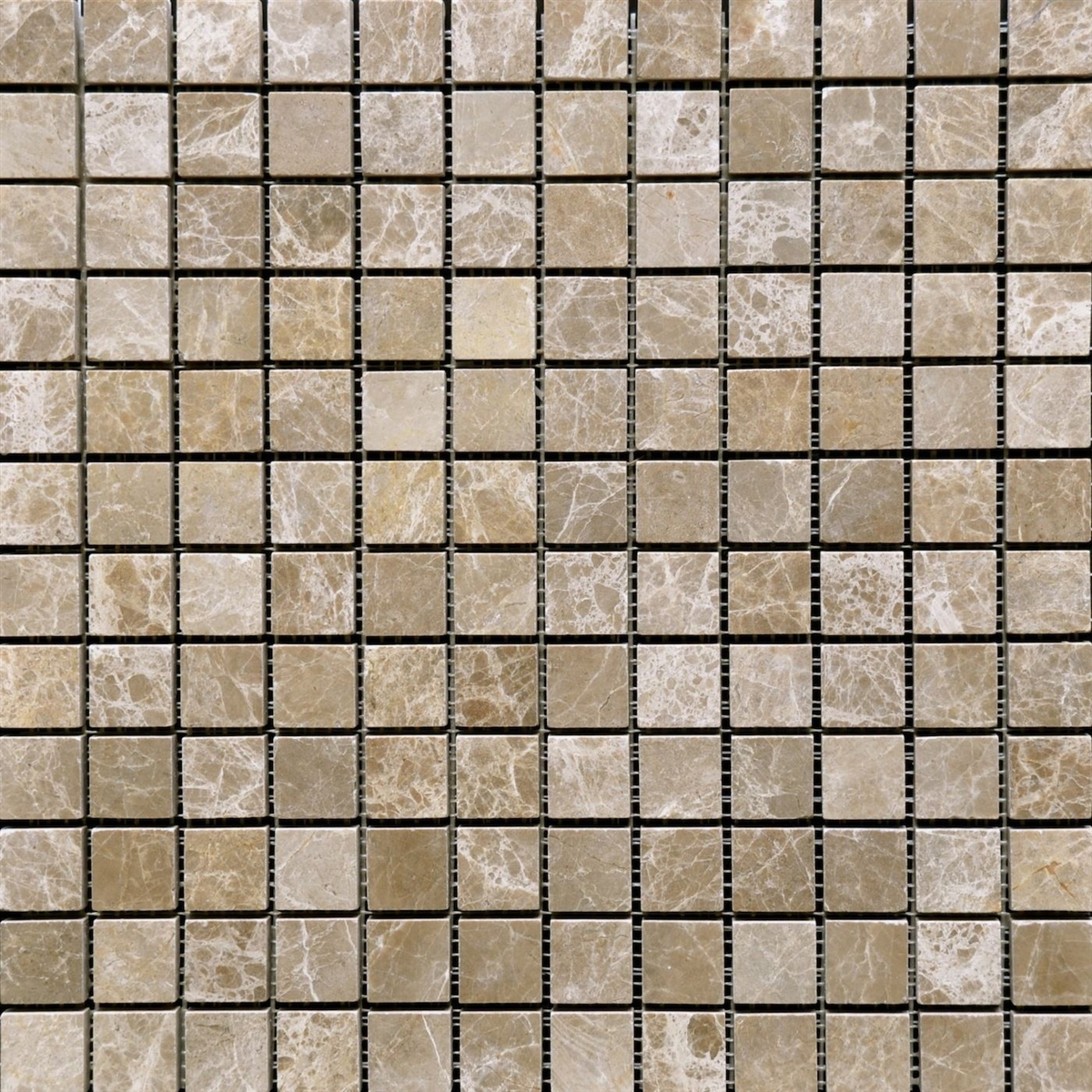 Emperador Light Mosaic 1x1 Tumbled Marble Tile