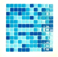 1x1 Pool Blue Spa Navy mix Glass Mosaic Wall and Floor Tile Pool
