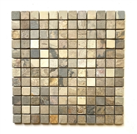 1x1 Harmony Slate Tumbled Mosaic Floor and Wall Tile