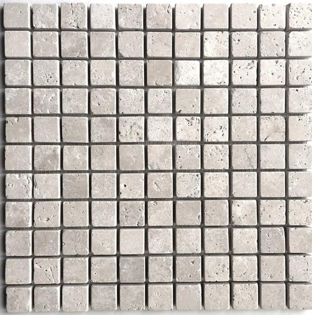 1x1 Light Tumbled Rounded Edge Travertine Wall Mosaic Tile