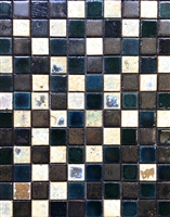 Antique Vaglio Hand Glazed Mix Bourges Green 1x1 Ceramic Mosaic Tile