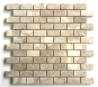 1x2 Botticino Beige Polished Marble Mosaic Tile