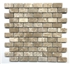 Emperador Light Brown 1x2 Tumbled Marble Mosaic Tile