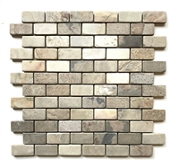 1x2 Harmony Slate Tumbled Mosaic Wall and Floor Tile