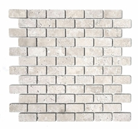 Light 1x2 Tumbled Mosaic Travertine Tile