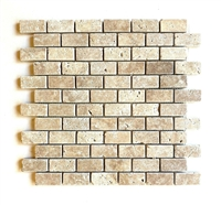 1X2 Walnut Tumbled Rounded Edge Travertine Mosaic Tile