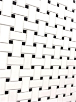 White and Black 1x2 Basketweave Porcelain Mosaic Floor and Wall