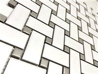 White and Gray 1x2 Basketweave Porcelain Mosaic Floor and Wall