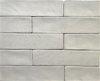 "2.5"" x 10"" Soft Gray Artisan Finish Glossy Spanish Porcelain Tile (one Piece)"