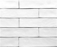 "2.5"" x 10"" Soft White Artisan Finish Glossy Spanish Porcelain Tile"